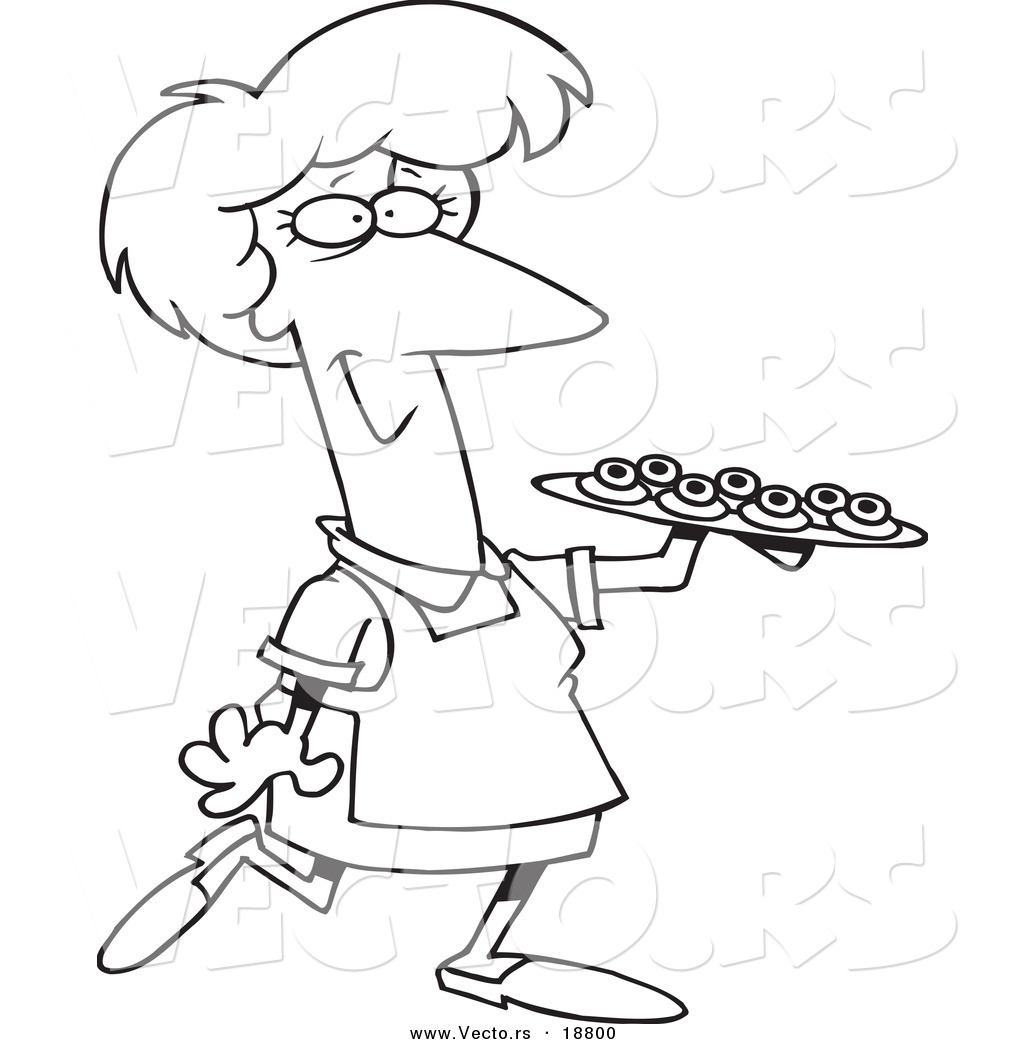 1024x1044 Vector Of A Cartoon Woman Serving Finger Foods