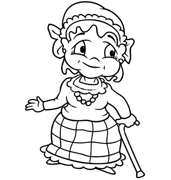 600x632 Grandmother Walk With Walking Stick Coloring Pages Color Luna