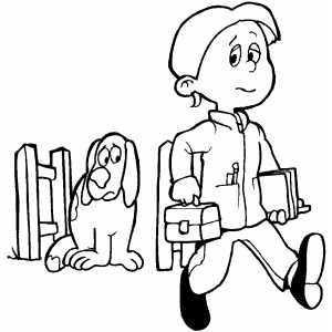 300x300 Guy Walking To School Coloring Page
