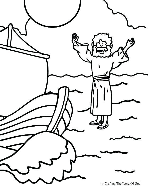 626x800 Jesus Walking Superb Peter Walks On Water Coloring Page