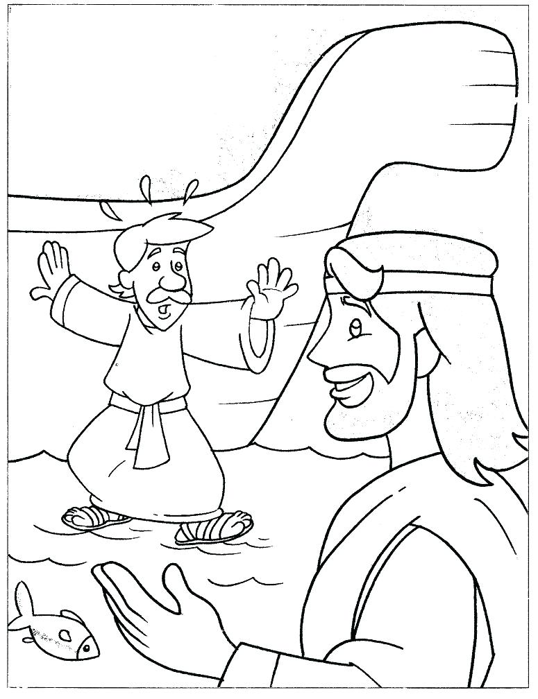 775x1008 Jesus Walks On Water Coloring Page
