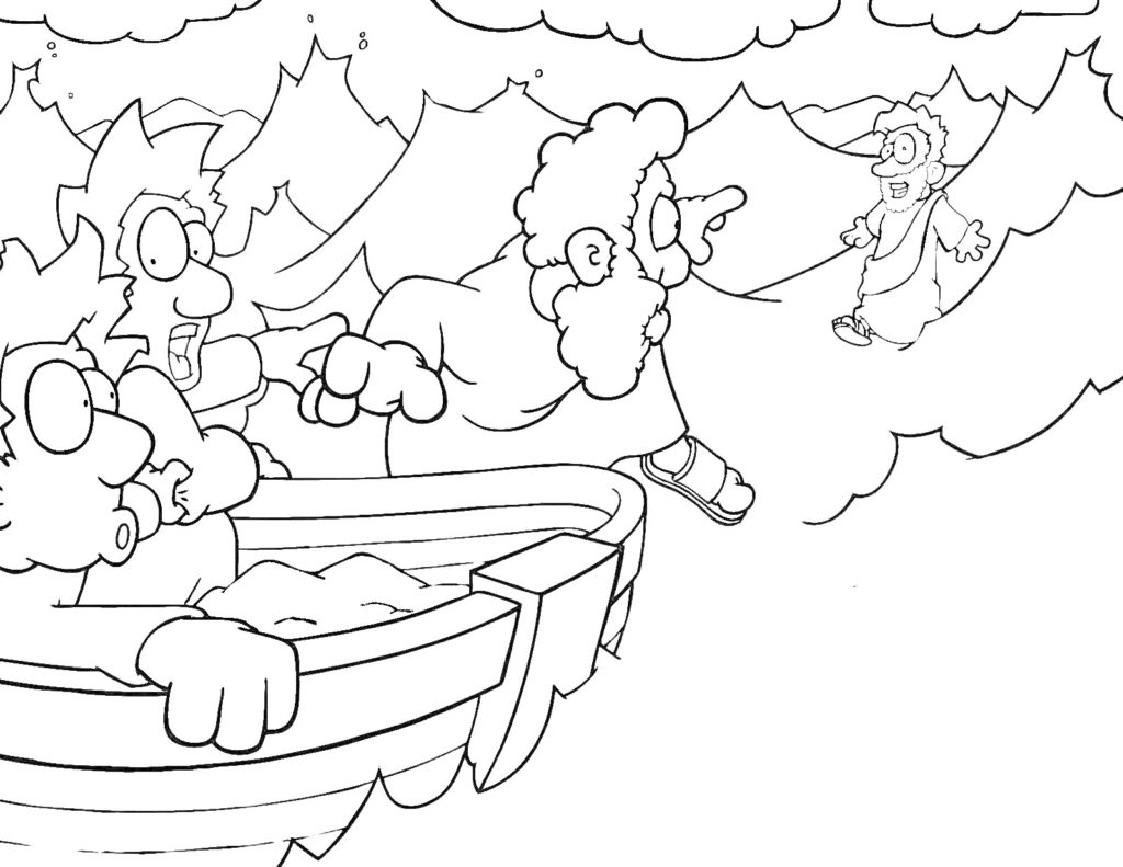 1024x791 Jesus Walks On Water Coloring Pages Throughout Page Qqa Me Best