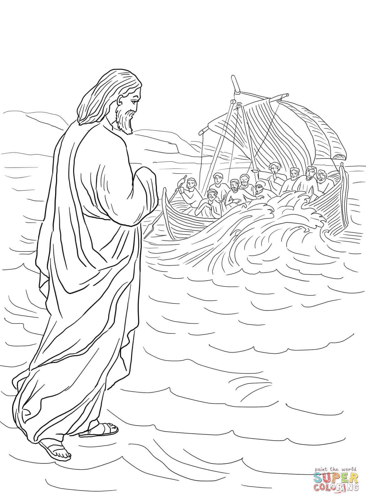 1170x1600 Peter Walks On Water Coloring Page Peter Walks On Water Coloring