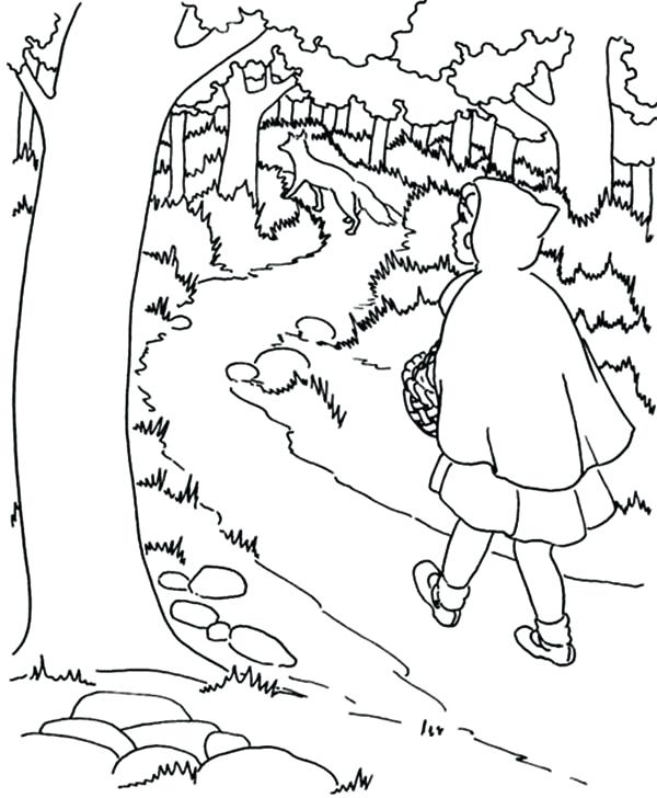 600x728 Red Riding Hood Walking In The Jungle Coloring Pages Little Red