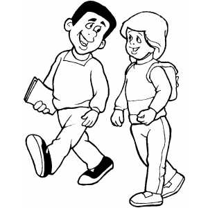 300x300 Students Walk Coloring Page