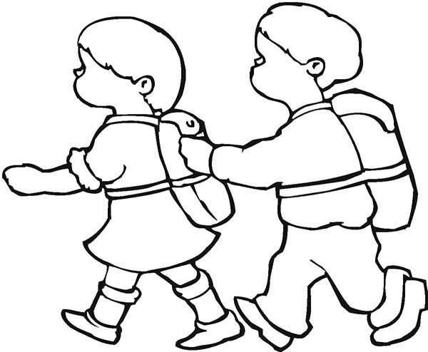 600x494 Two Kids Walking Together On First Day Of School Coloring Page