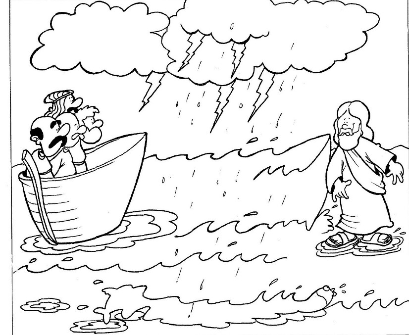 826x677 Unbelievable Design Jesus Walks On Water Coloring Page Free Pages