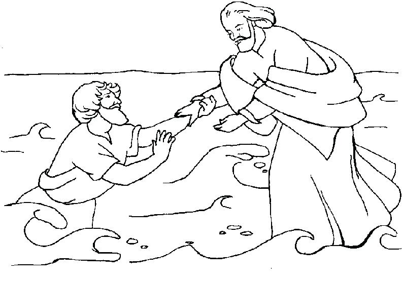 794x561 Jesus Walks On Water Coloring Page