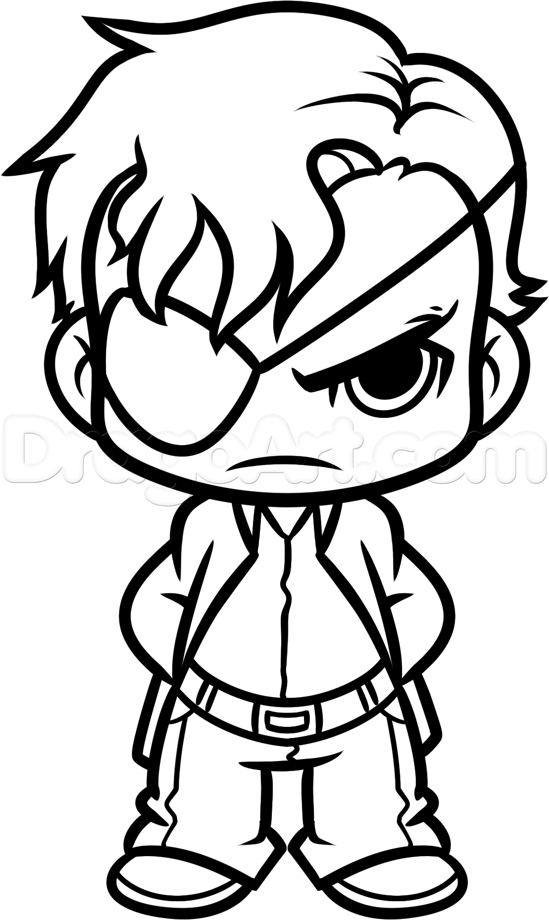 1109x1858 How To Draw Chibi Governor From The Walking Dead, Step