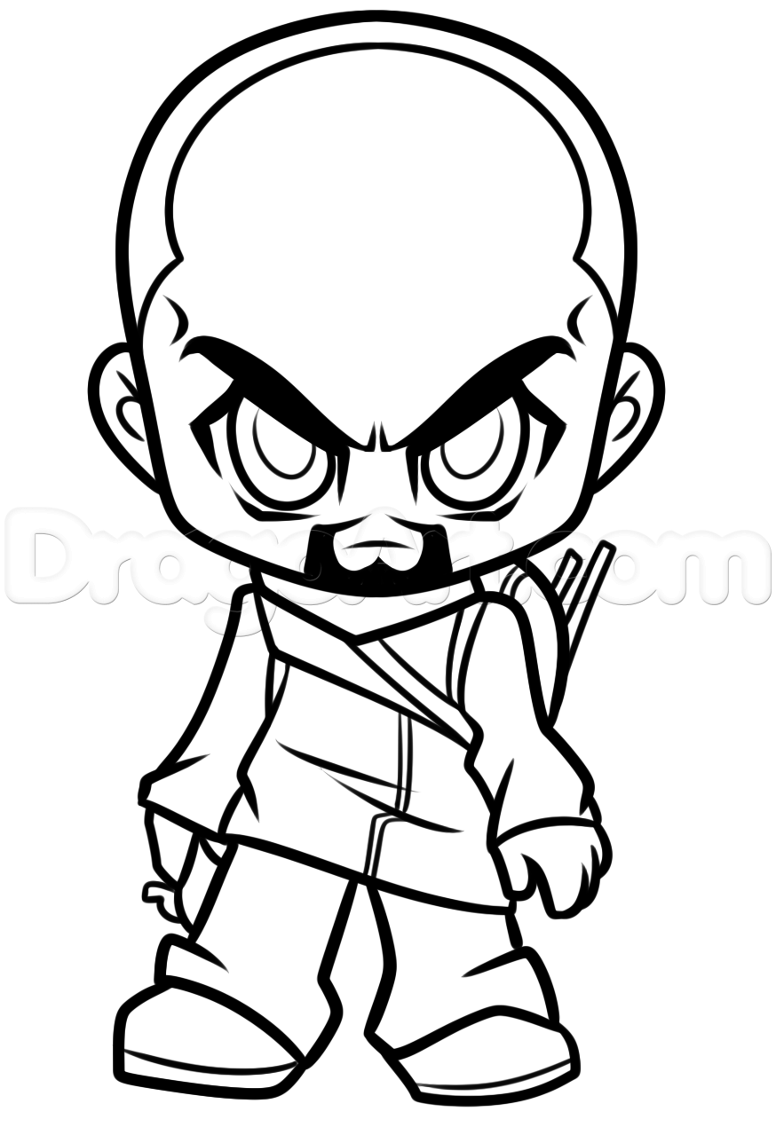 874x1288 How To Draw Chibi Morgan From The Walking Dead, Step