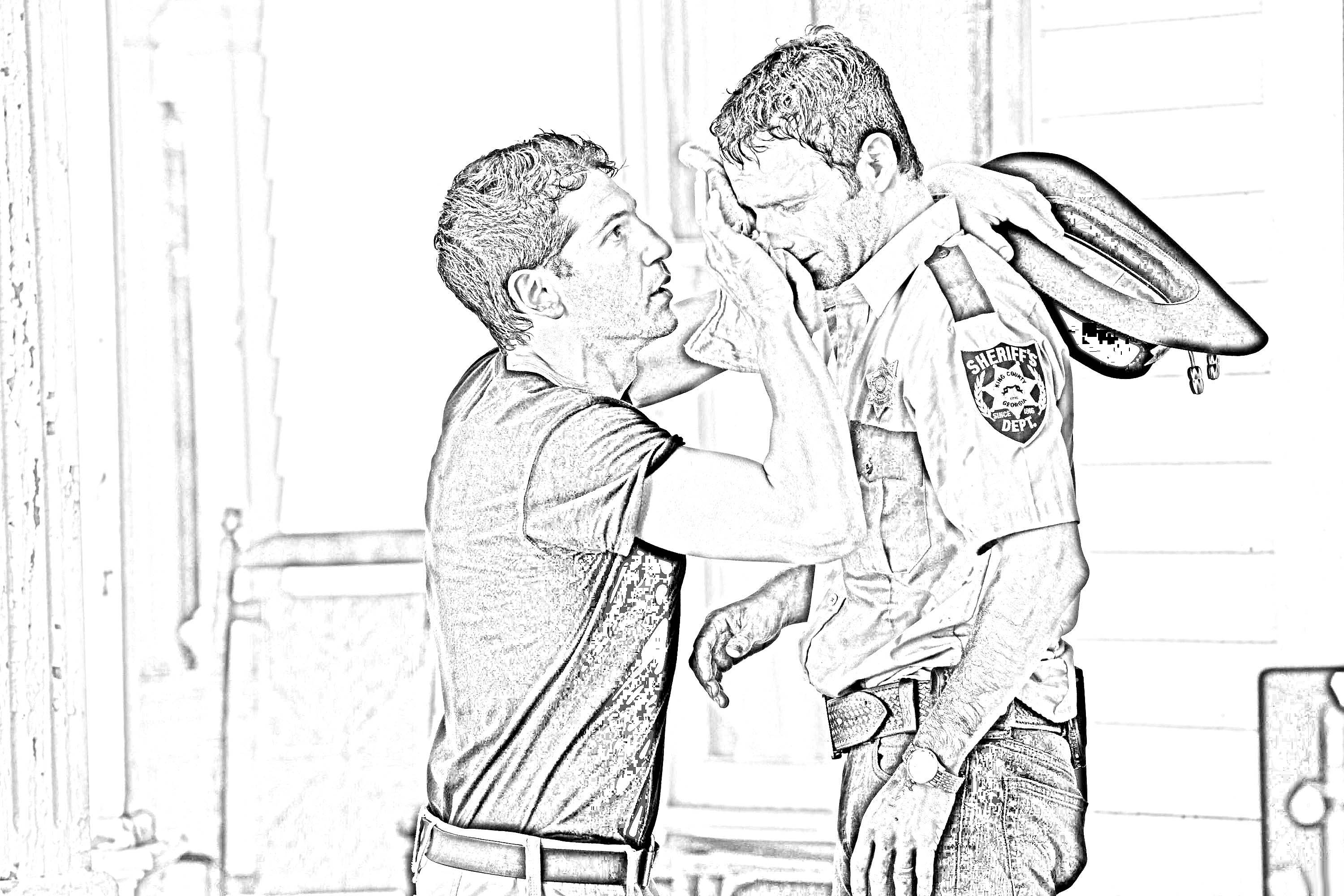 3000x2000 The Walking Dead Coloring Pages Shane And Rick The Walking Dead