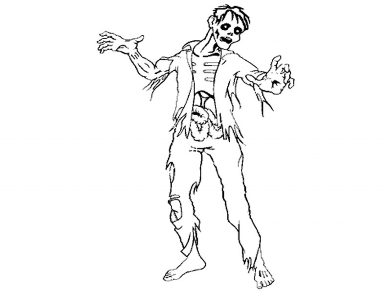 1280x960 Zombie Coloring Sheets Pages