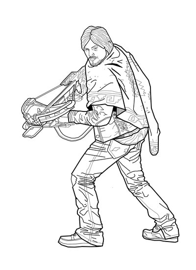 400x550 Daryl The Walking Dead Coloring Premiere Free Coloring Pages