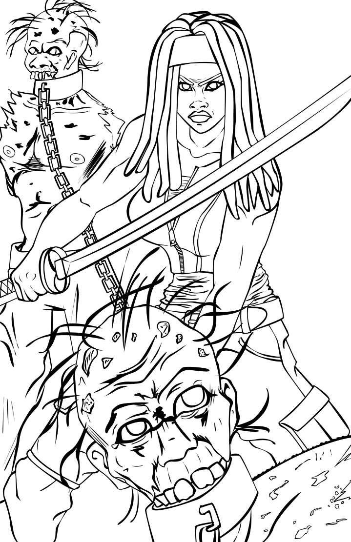 719x1111 Walking Dead Coloring Pages Michonne Line Art