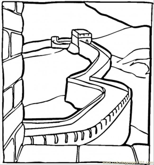 650x697 Great Chinese Wall Coloring Page