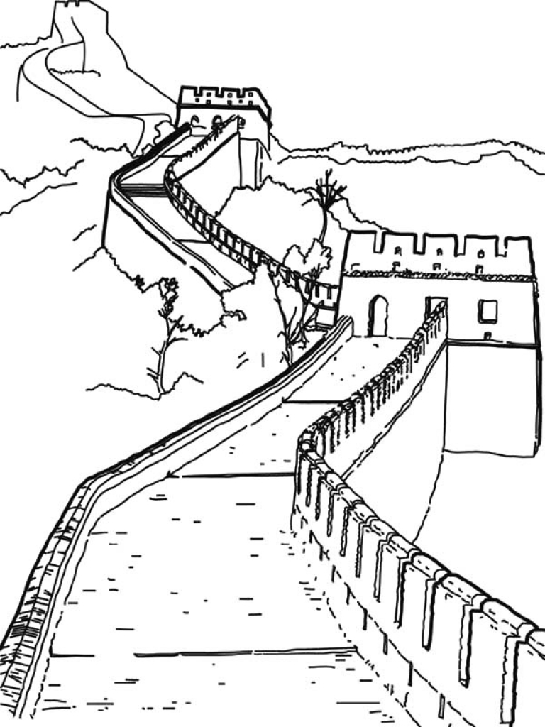 768x1024 Important Great Wall Of China Coloring Page Wo