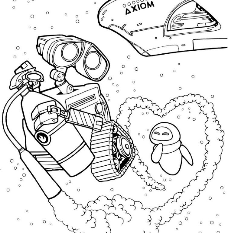754x768 Wall E Coloring Pages Wall E Coloring Pages Wall And Eve In Space