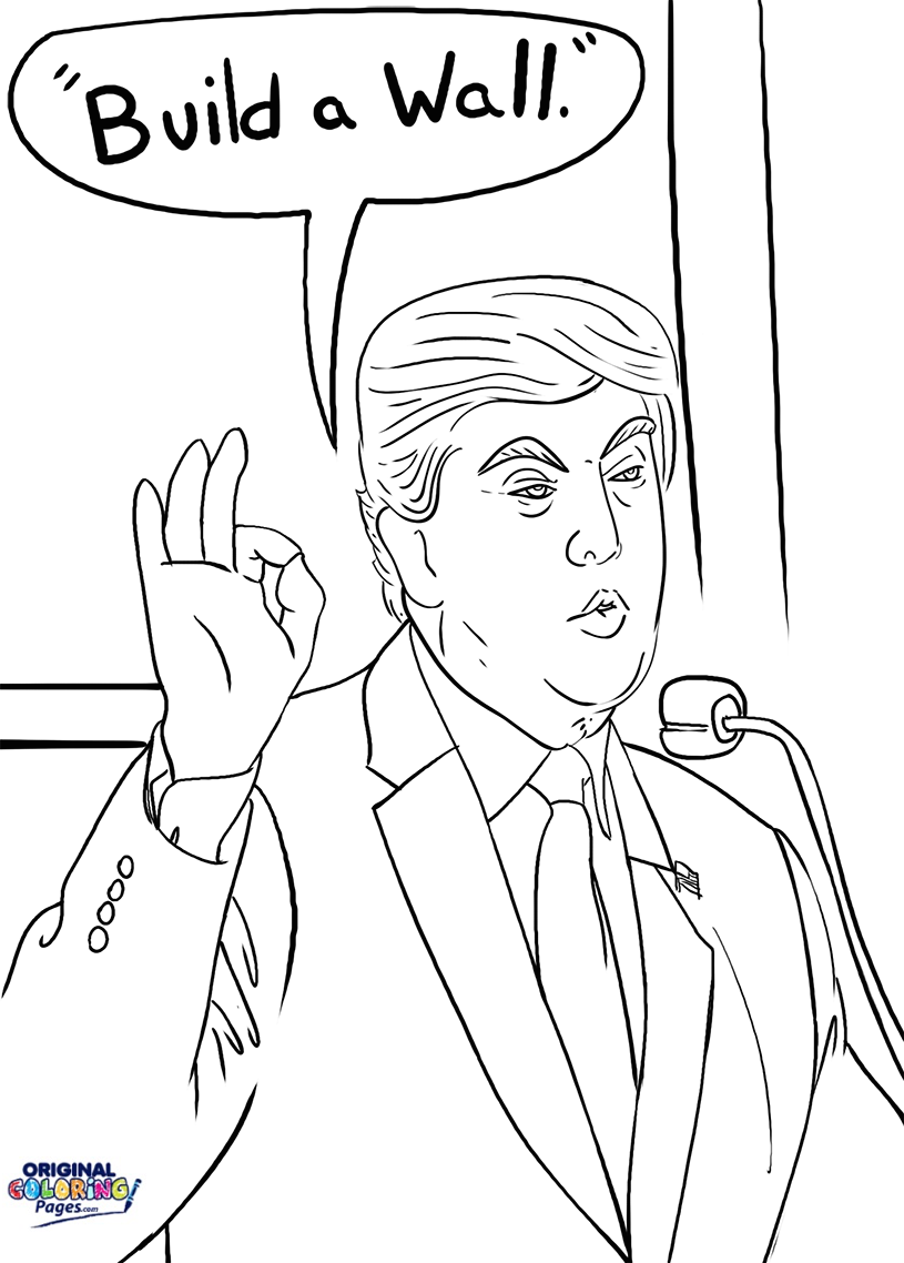 815x1138 Donald Trump Build A Wall Coloring Page Coloring Pages