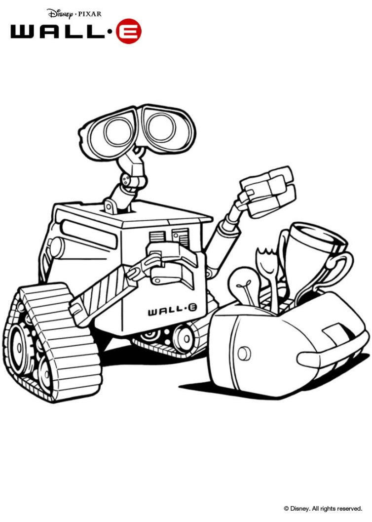 754x1057 Wall E Giving Flowers To Eve Coloring Pages