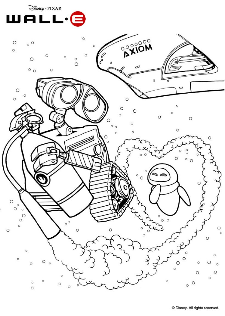 754x1057 Wall E And Eve In Space Coloring Pages