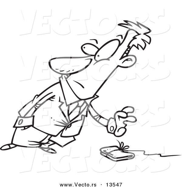 600x620 Vector Of A Cartoon Businessman Reaching For A Wallet On A String