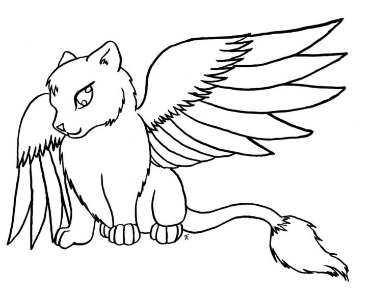 728x579 Cat With Wings Coloring Page Cat Coloring Pages With Wallpapers