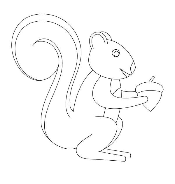 600x630 How To Draw Squirrel With Oak Nut Coloring Page