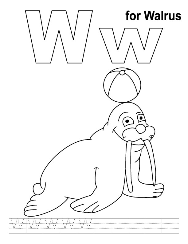 612x792 W Is For Walrus Coloring Page