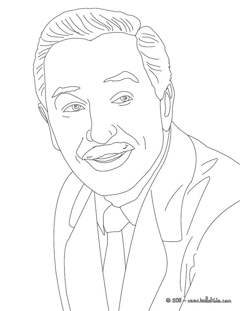 820x1060 Walt Disney Portrait Coloring Page History Coloring Sheets