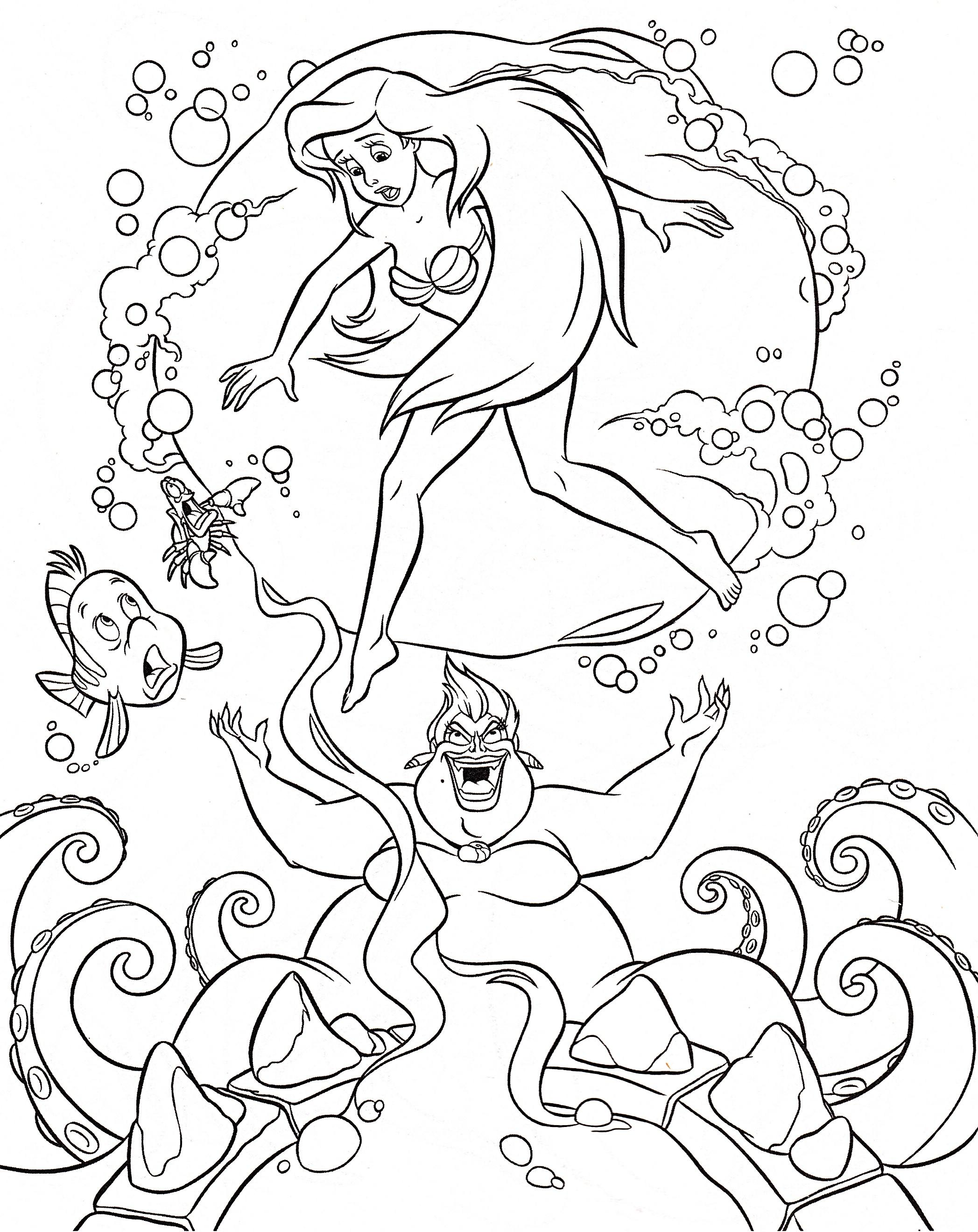 2095x2640 Beautiful Walt Disney Coloring Pages Flounder Sebastian Princess