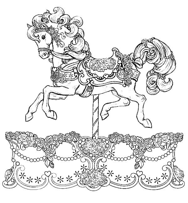 600x648 Beautiful Carousel Horse Coloring Pages To Print