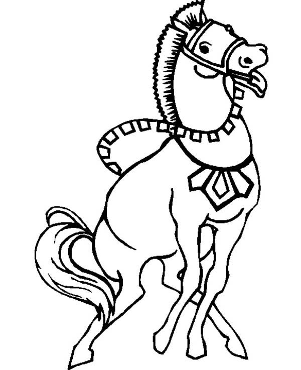 600x737 Strong War Horse In Horses Coloring Page