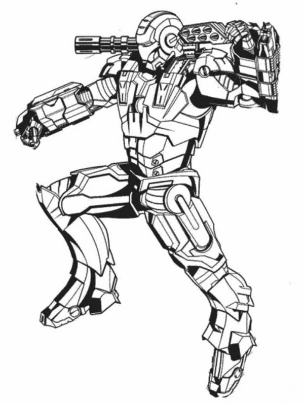 600x795 War Machine In Action In Iron Man Coloring Page