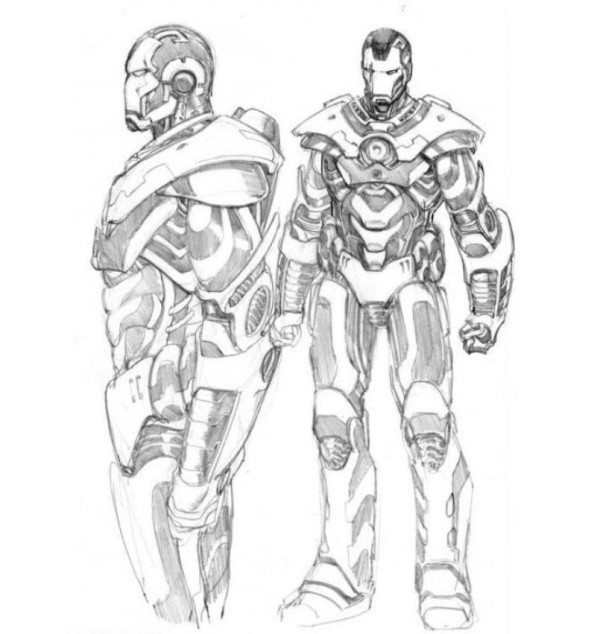 600x634 Iron Man War Machine Coloring Pages