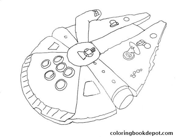 600x450 Simple Millenium Falcon Star Wars Ship Coloring Pages