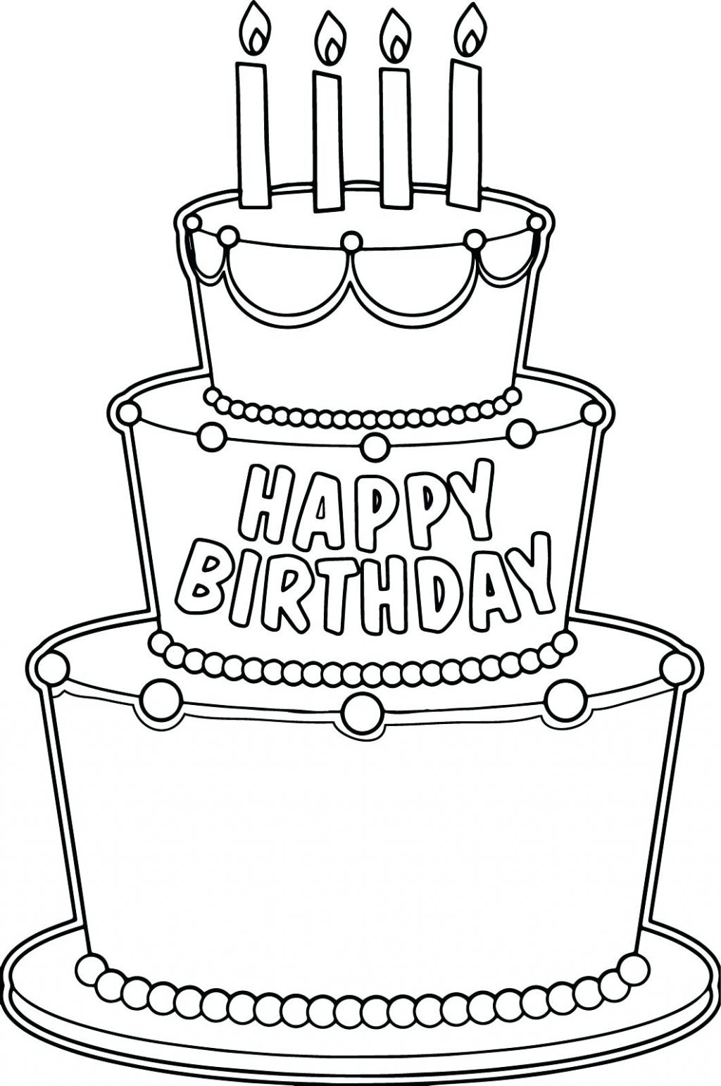 1024x1542 Best Of Coloring Page Birthday Cake Coloring Pages Birthday Cake