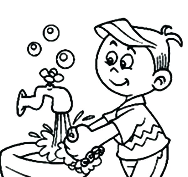 600x563 Hand Washing Coloring Pages Hand Washing Coloring Pages Coloring
