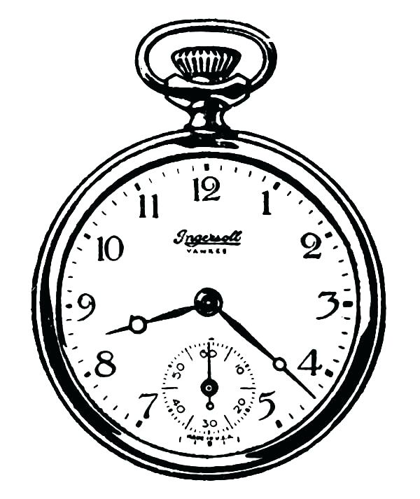 600x713 Clock Coloring Page Watch Coloring Page Pocket Analog Clock Watch