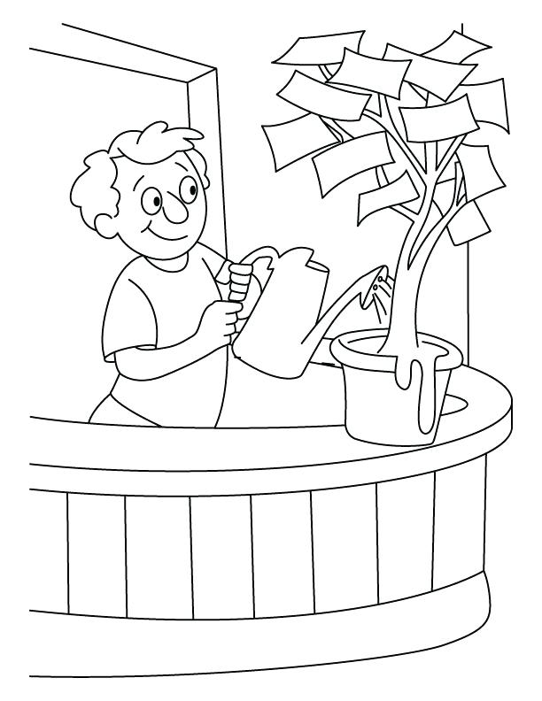 612x792 Water Bottle Coloring Page A Boy Giving Water In The Money Plant