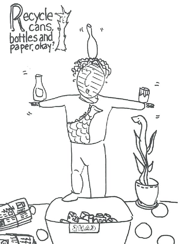 600x812 Water Bottle Coloring Page Recycling Cans Bottles And Paper