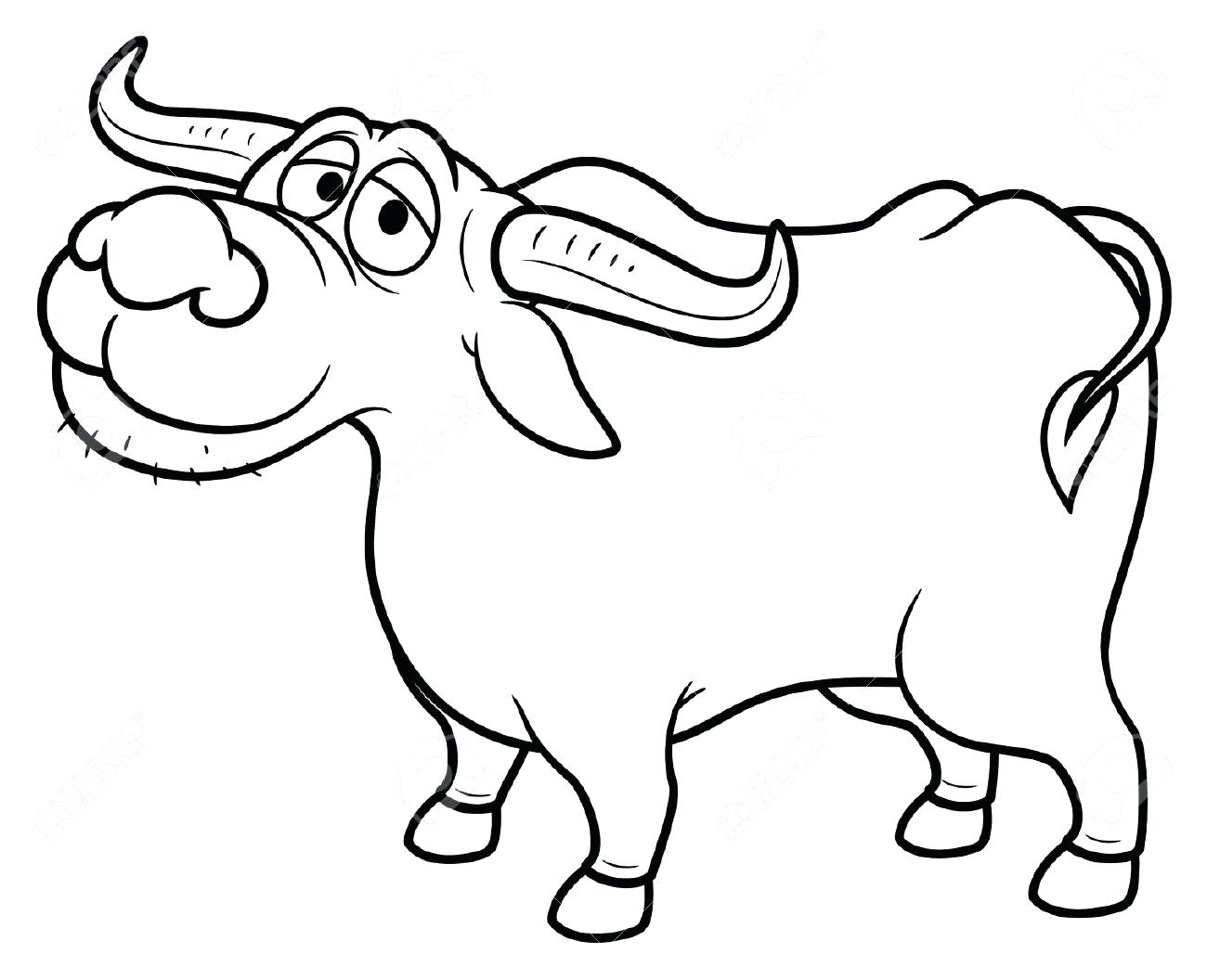 1300x1056 Wild Asian Water Buffalo Coloring Page