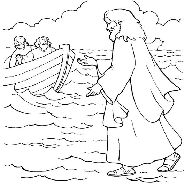 600x601 Water Coloring Page Coloring Pages For Peter Walks On Water