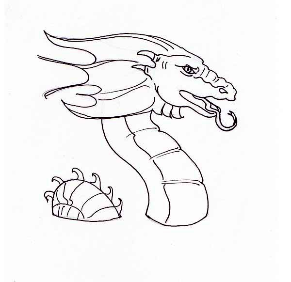 600x582 Dragon Head Coloring Page