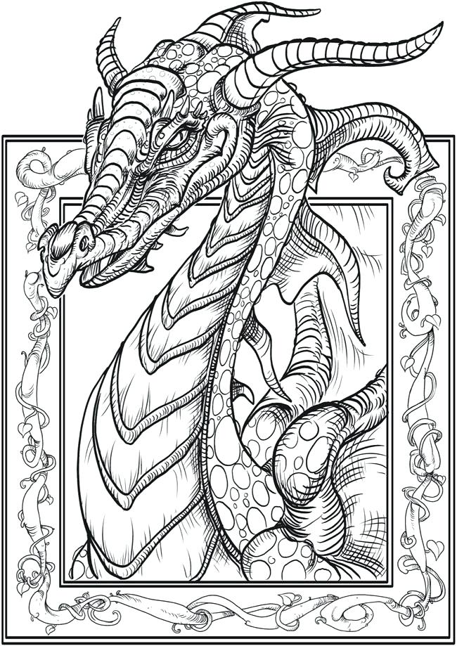 650x919 Real Dragon Coloring Pages Dragon Coloring Pages For Adults