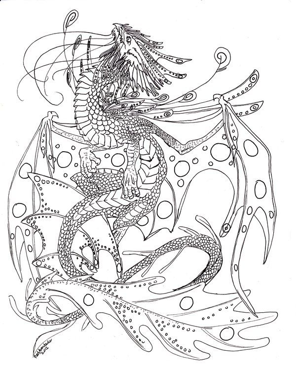 600x757 Adult Coloring Pages Water Dragon Download