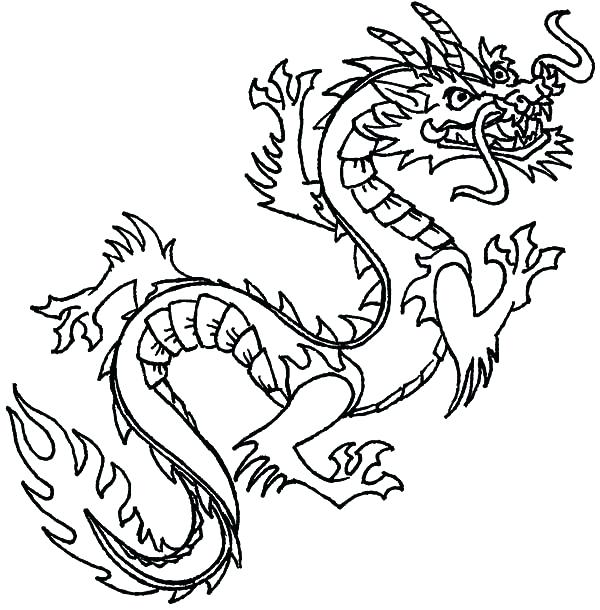 600x610 Chinese Dragon Coloring Pages Flying Dragon Coloring Pages Chinese