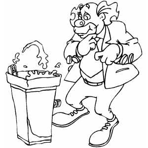 300x300 Clown With Water Fountain Coloring Page