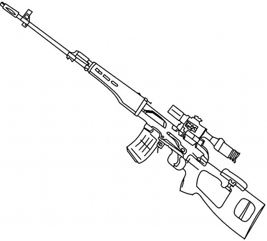1024x926 Gun Colouring Pages