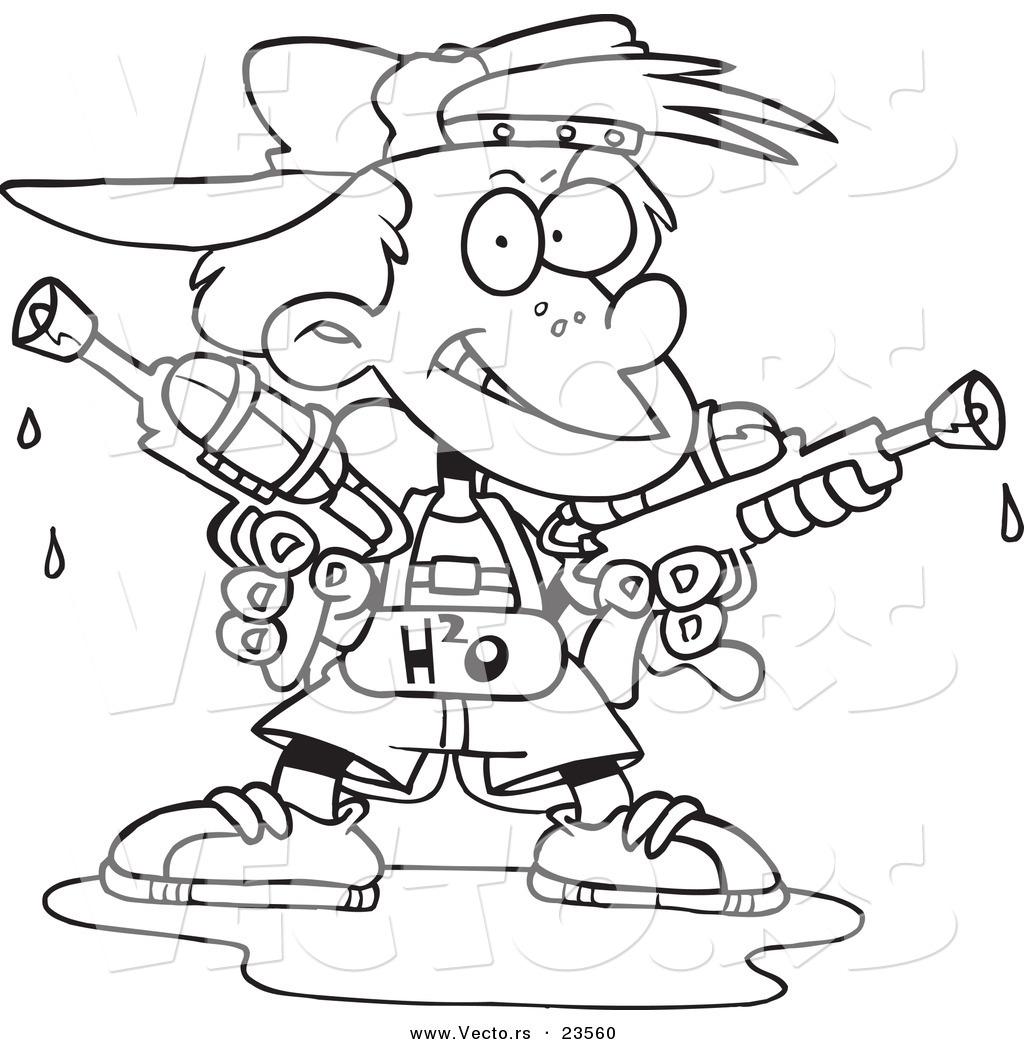 1024x1044 Vector Of A Cartoon Boy Holding Two Soaker Guns