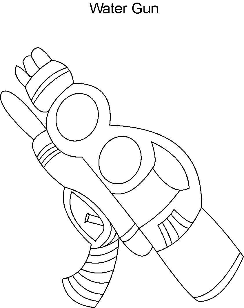 842x1060 Water Gun Coloring Printable Page For Kids